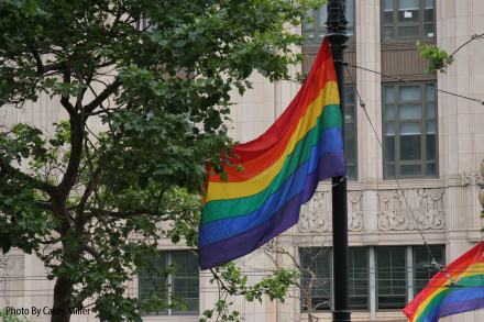 This flag is one of the many that are attached to poles and wires all across the Castro district.  Photo: Casey Miller